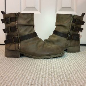 Brown Combat Boots with Buckles